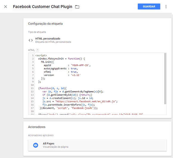 Google Tag Manager Chat do Messenger