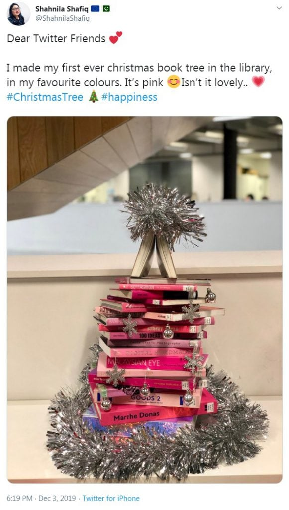 Glamourous pink book Christmas tree