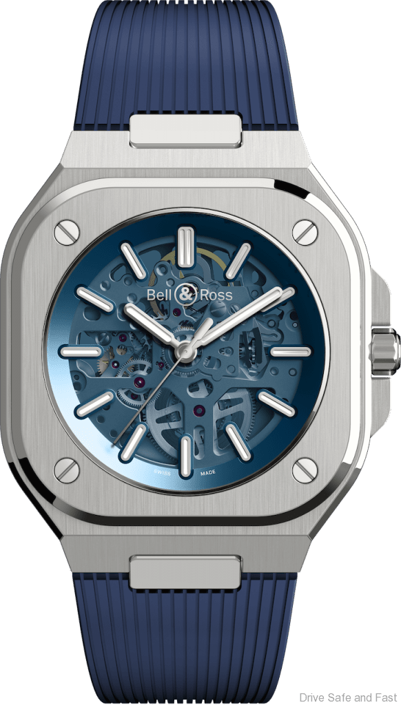 BELL & ROSS BR 05 Skeleton Blue rubber strap
