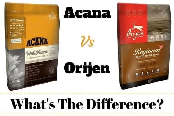 Acana vs Orijen written between a bag of each brand of dog food on white bg