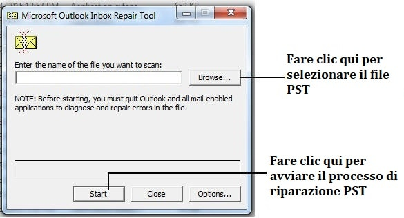 Riparare il file pst di outlook