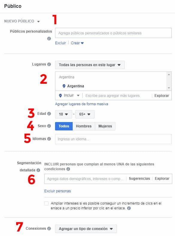 anuncios de Facebook - selección de audiencia objetivo targeting