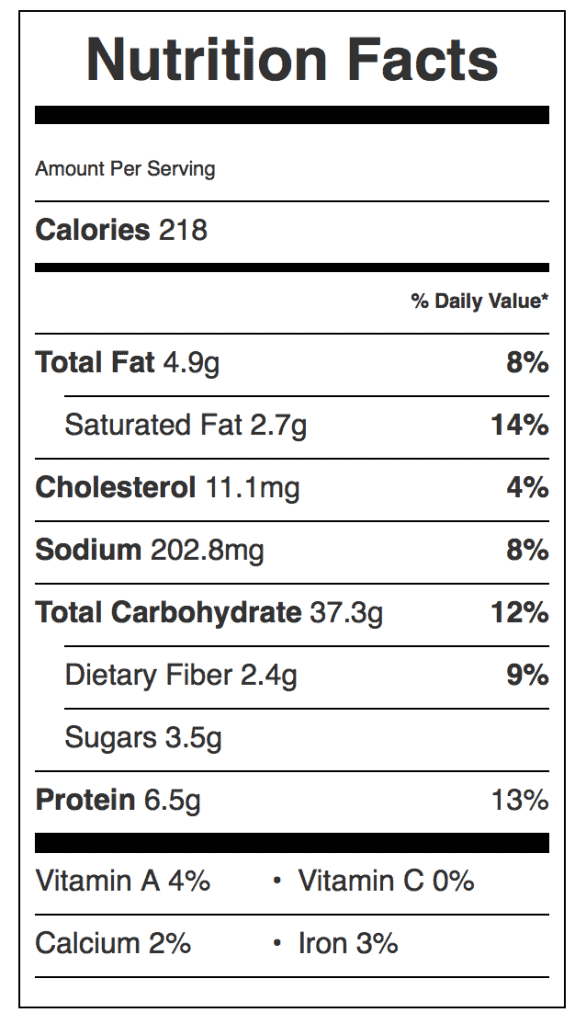 Don's English Muffins Nutrition Label. Each serving is one muffin.