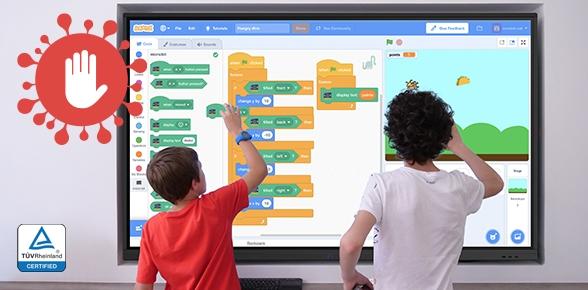 écran interactif anti-germe pour classe hybride et continuité pédagogique