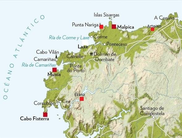 Mapa Costa Da Morte.A Costa Da Morte Roteiro Na Galiza O Berco Do Mundo