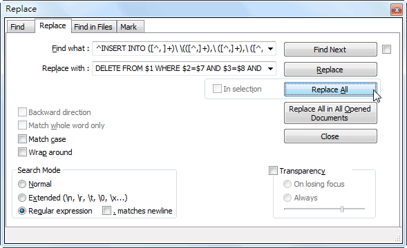 Notepad++ Replace Dialog for INSERT INTO