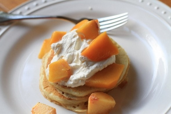 buttermilk pancakes with peaches