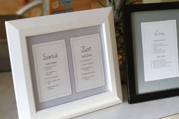 framed chore lists