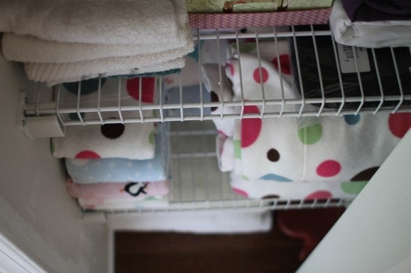 decluttered linen closet