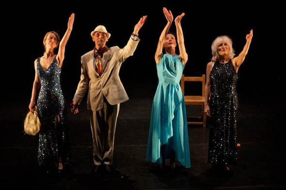 Angela Frampton, Roger Cox, Jill Connick and Gilly Hanna in I'M sorry you're leaving (photo: Karolina Bajda)