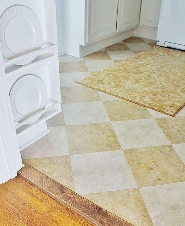 Here's a detail of the peel and stick floor