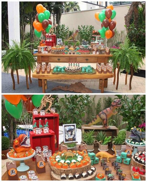 dinosaur-boy-birthday-party-dessert-table