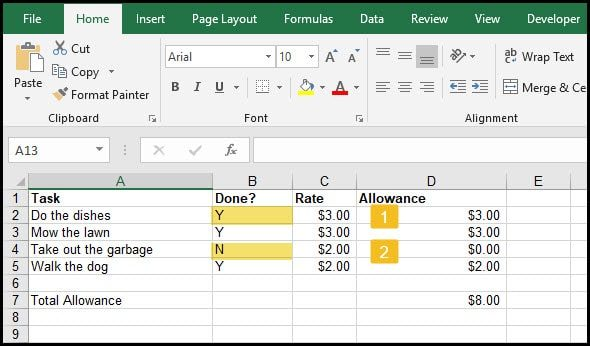 Excel IF logical test examples
