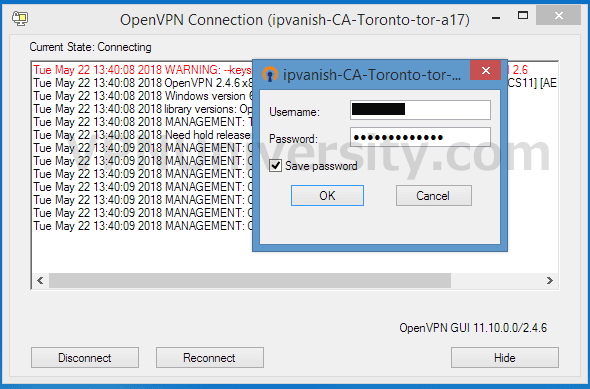 Enter username/password to connect to the server