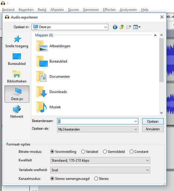 Het samengevoegde mp3 bestand exporteren.