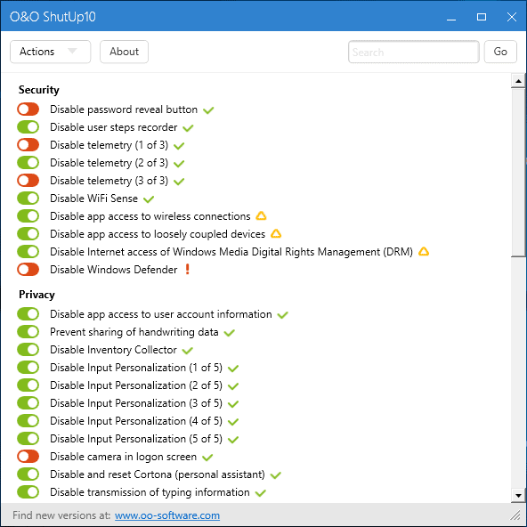In dit scherm kun je privacy-instellingen in Windows 10 aanzetten of uitzetten.
