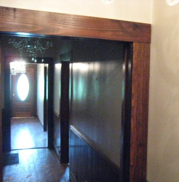 Old hallway door molding before the makeover