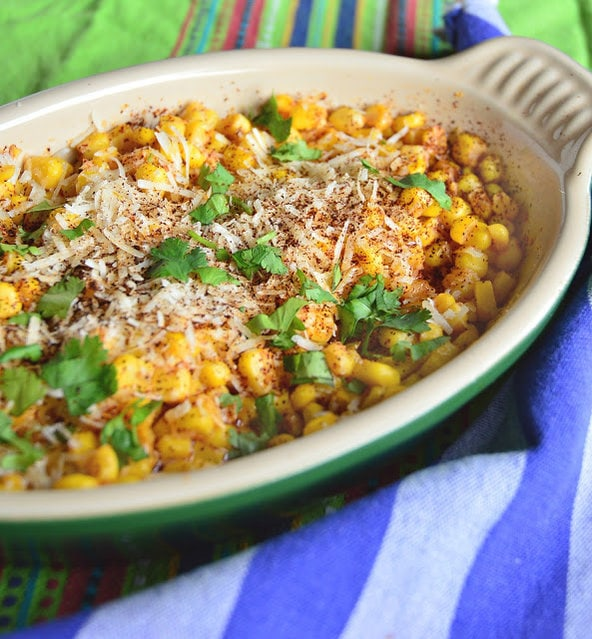 This super simple recipe using canned corn and parmesan cheese is so good. Flavored with chile and lemon you will find yourself making this over and over again! #corn #Mexicanrecipes #chile www.thisishowicook.com