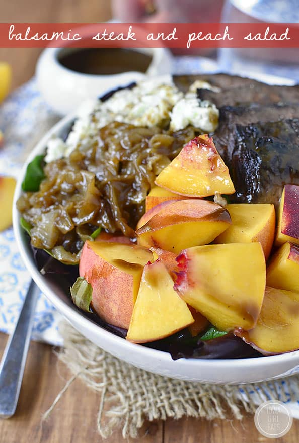 Bowl of balsamic steak and peach salad