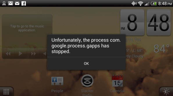"""Unfortunately, the process com.google.process.gapps has stopped"""