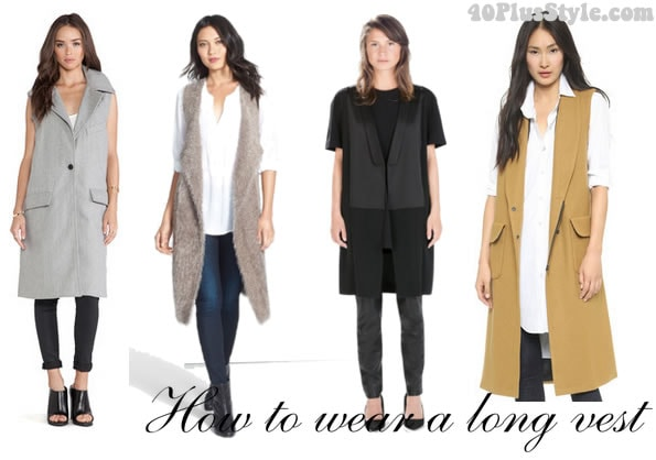 how to wear a long vest with skinnies | 40plusstyle.com