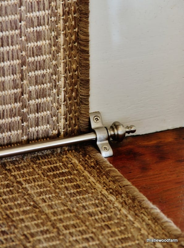 Use these stair rods to hold the runner in place on the staircase