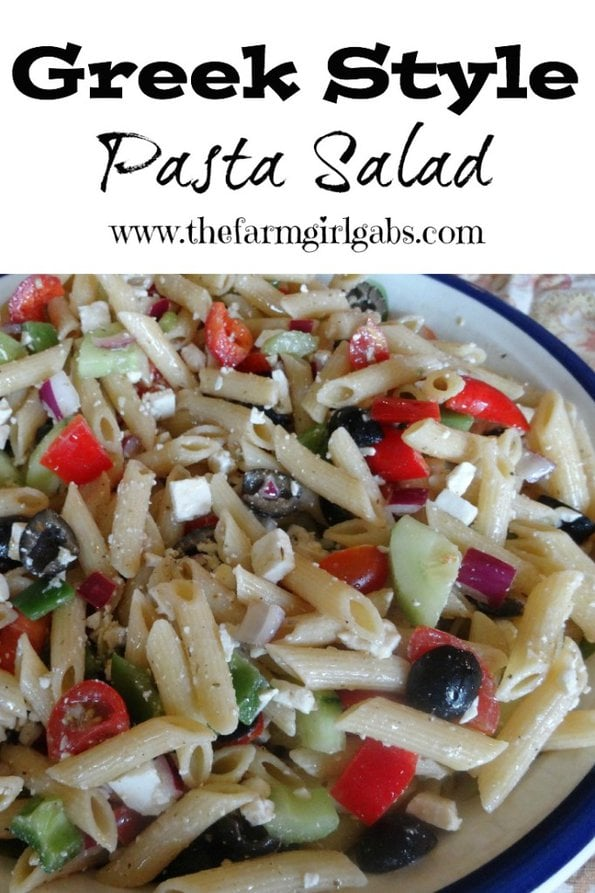 Greek Style Pasta Salad Pinterest