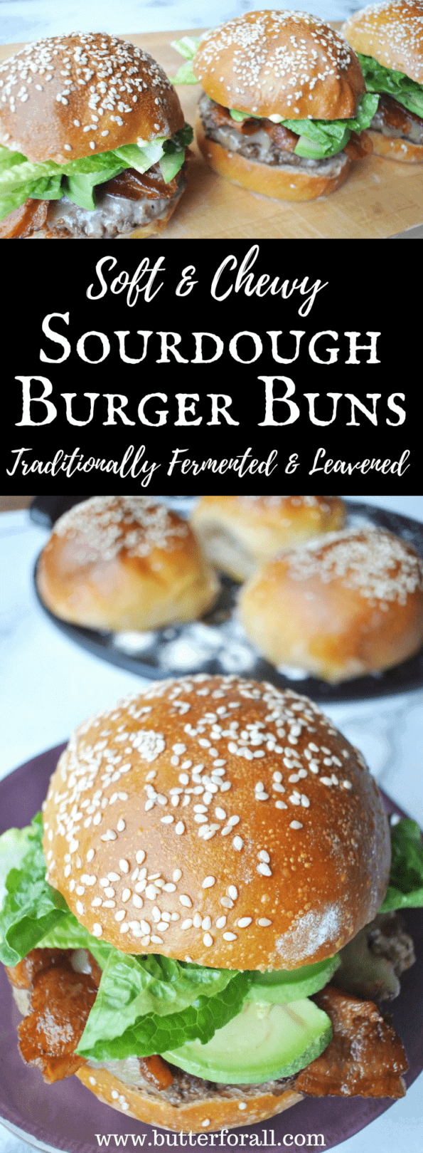Soft chewy sourdough burger buns that are traditionally fermented and leavened!
