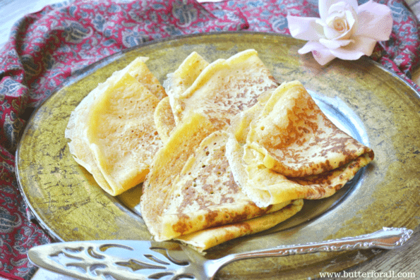 A beautiful plate of fresh sourdough crepes. Perfect for sweet of savory toppings, fillings and sauces.