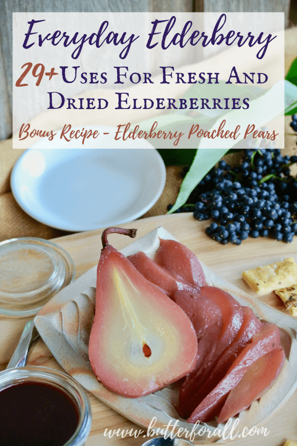 Elderberry poached pears make a beautiful compliment to this cheese and meat board!