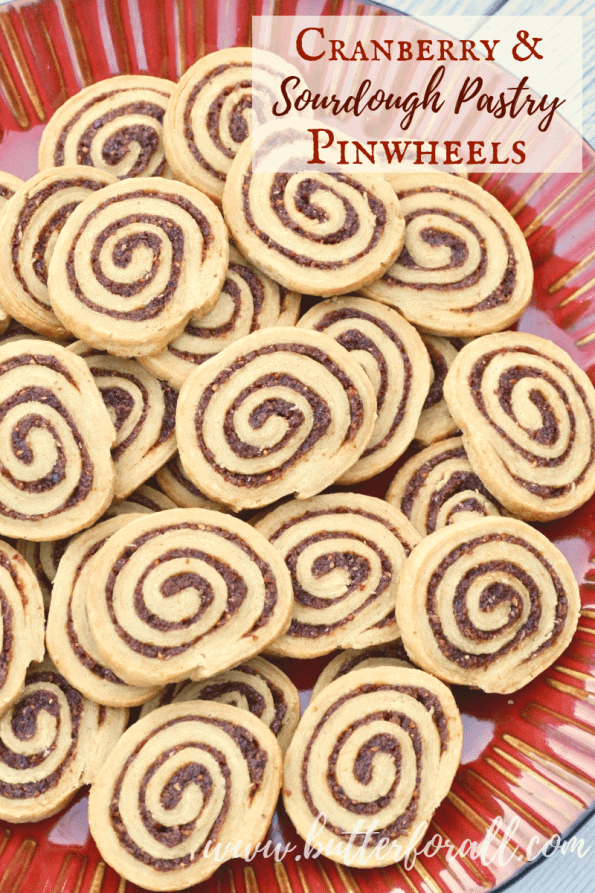 These tart and jammy Cranberry and Sourdough Pastry Pinwheels are a fun refined-sugar free treat for your holiday table! #realfood #sourdough #fermentedgrains #properlypreparedgrains #nourishingtraditions #wisetraditions #wapf
