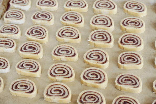 The sliced Cranberry and Sourdough Pastry Pinwheels ready to be baked.