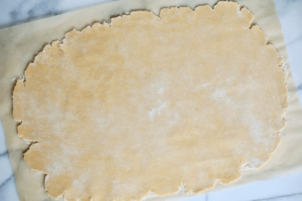 The Sourdough pstrty is rolled to 1/4 inch thickness.