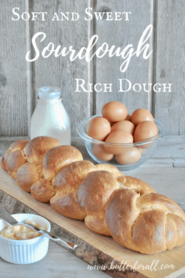 This rich sourdough makes a loaf of Challah so very soft and perfect for toasting and serving with Pâté. #starter #bread #sourdough #fermented #realfood #nourishing #wisetraditions #challah #braidedbread #sweetbuns #dinnerrolls #sweetbread #richdough #brioche