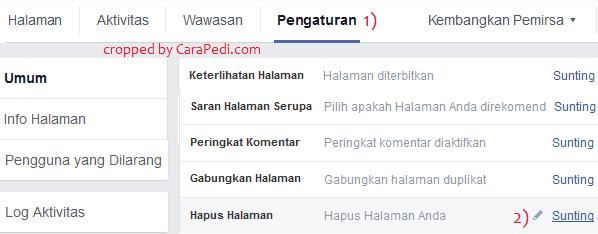 cara hapus halaman facebook