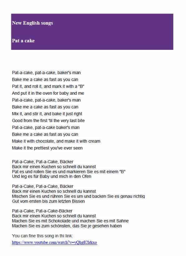 Englische Lieder