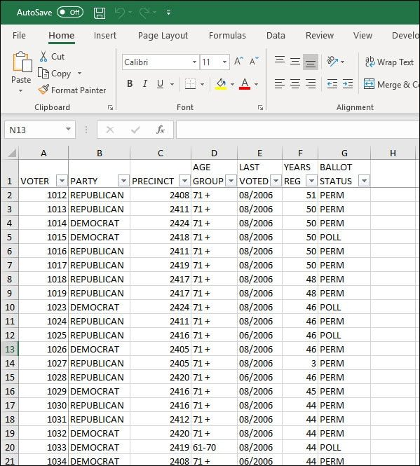 Excel sheet with voter info.