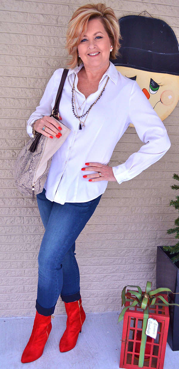 White top and red boots outfit with Tania |40plusstyle.com