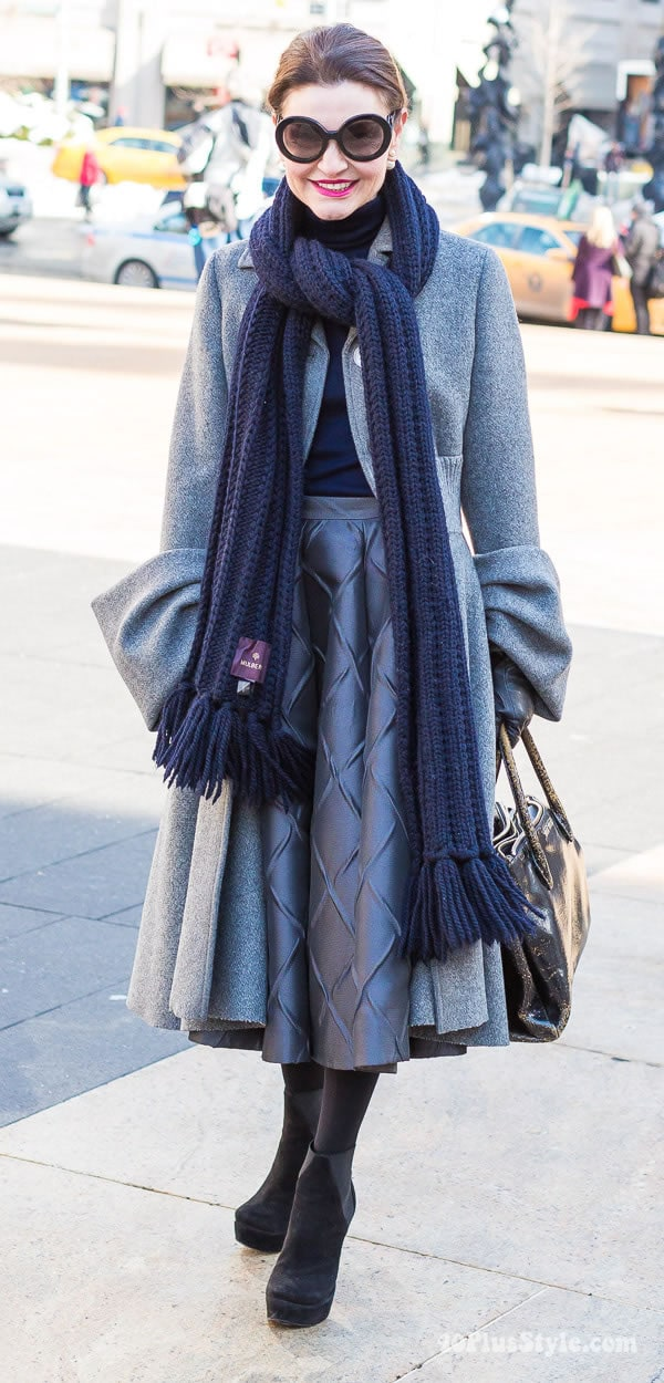 Wearing a gray designer coat - How to wear gray | 40plusstyle.com