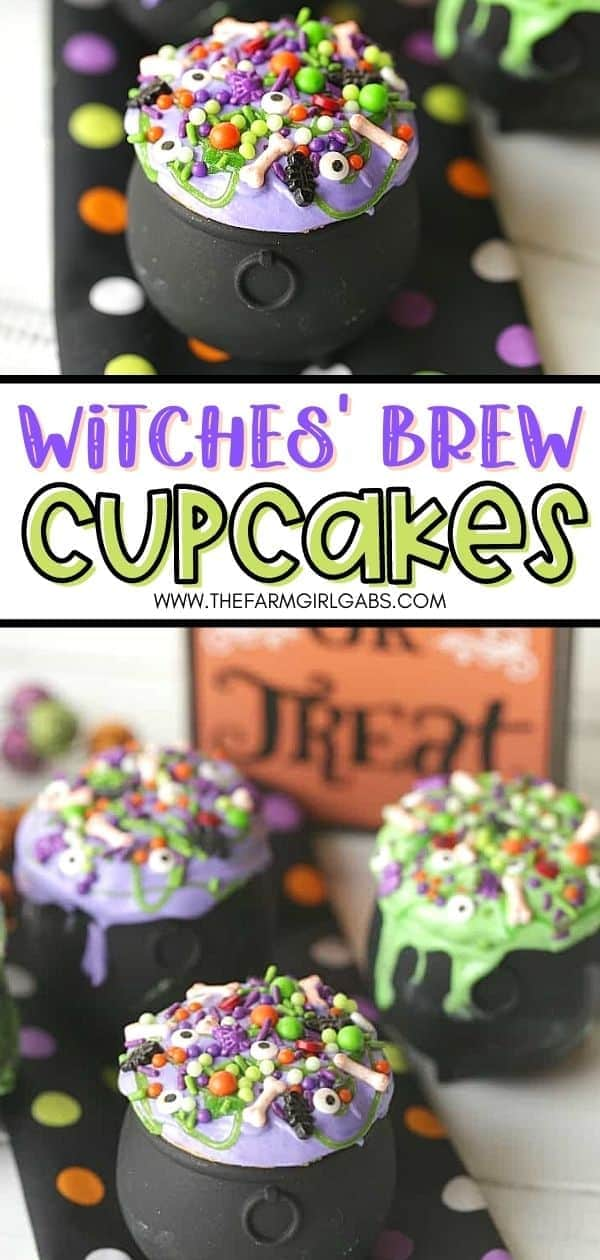Double, double, toil and trouble. These Witches' Brew Cupcakes are the perfect Halloween treat. These bewitching cupcakes are perfect for a Halloween party. Save this fun Halloween cupcake recipe so you can make it for your family. They will go batty over these Cauldron cupcakes. Share this fun Halloween recipe with friends and family.