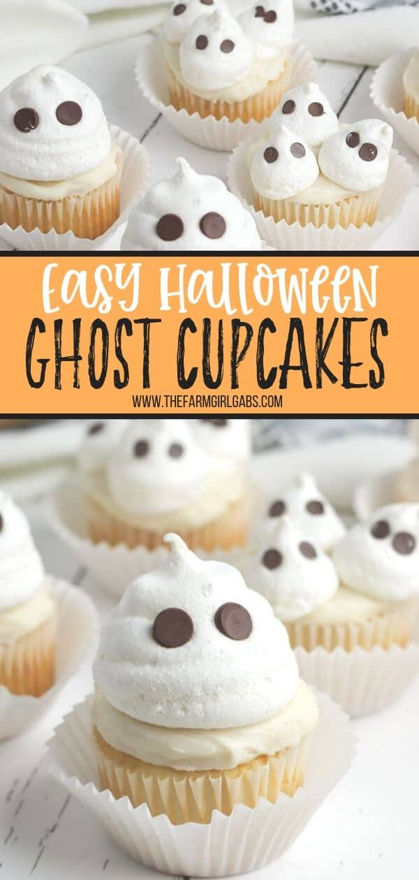 Scare up some cute Halloween fun with these adorable Halloween Ghost Cupcakes. These easy Halloween cupcakes will be the boo-tiful hit with the kids. #ghostcupcakes #halloweencupcakes #halloweensnack