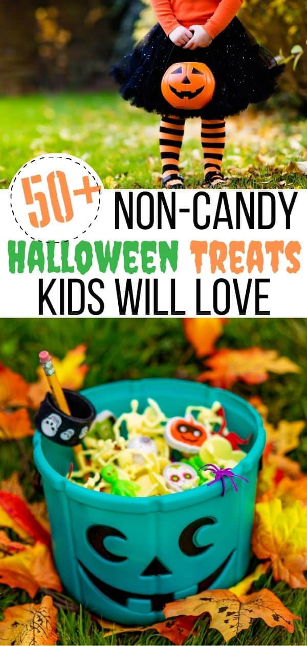 Skip the candy this Halloween! Here are some Non-Candy Halloween Treats you can hand out to trick or treaters instead. These Halloween treat ideas are great non-candy alternatives to hand out to trick-or-treaters this Halloween night. Great teal pumpkin ideas for kids with allergies. #Halloweentreats #noncandytreats #tealpumpkinproject