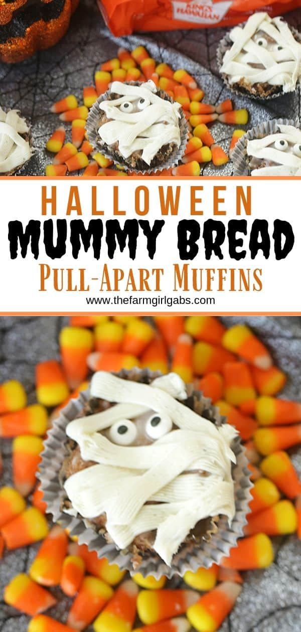 Halloween party on the horizon? These Mummy Bread Cinnamon Sugar Pull-Apart Muffins are easy, delicious and hauntingly fun. These monkey bread muffins will be a huge hit! #mummytreats #halloweendessert #halloweensnack #halloweenpartyideas