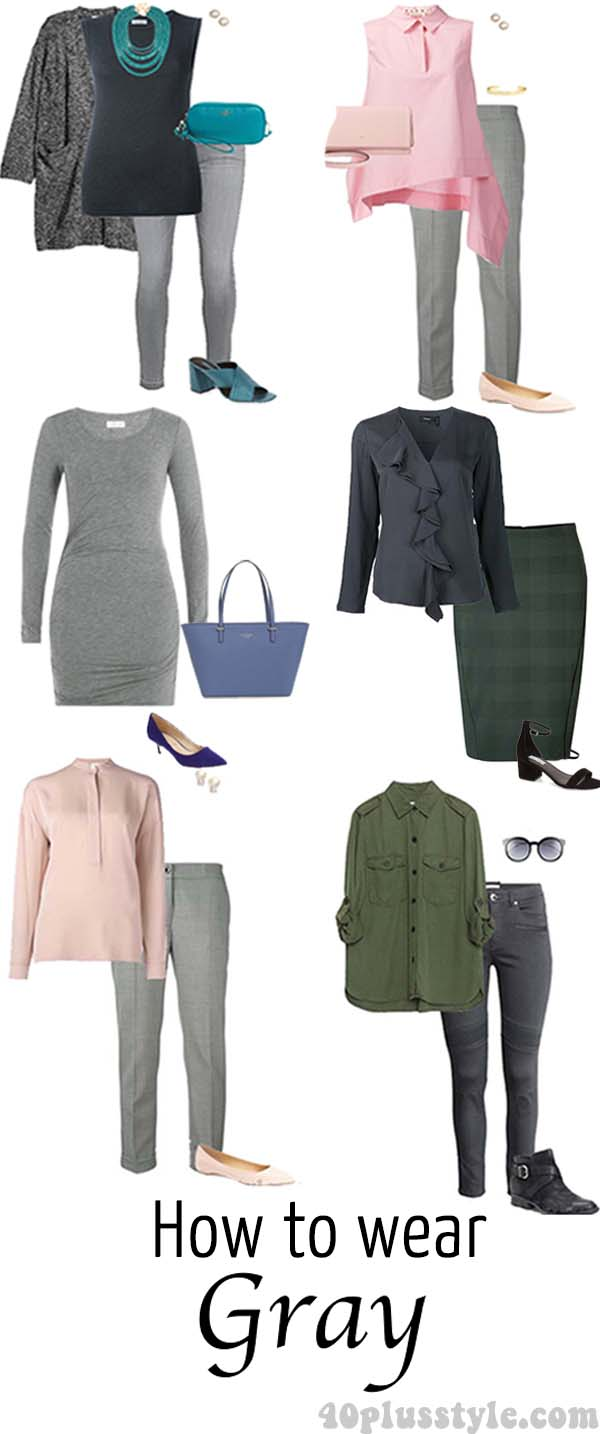 6 stylish outfits on how to wear gray | 40plusstyle.com