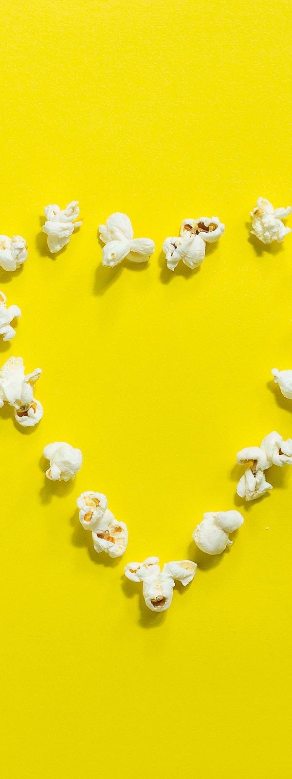 Popcorn Heart Yellow Background