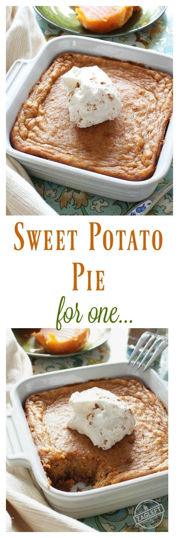 Sweet Potato Pie For One – This popular Southern dessert starts with a buttery graham cracker crust and is filled with perfectly spiced sweet potato custard. Top this tasty pie with a spoonful of maple whipped cream and you've got an amazing single serving dessert. | onedishkitchen.com