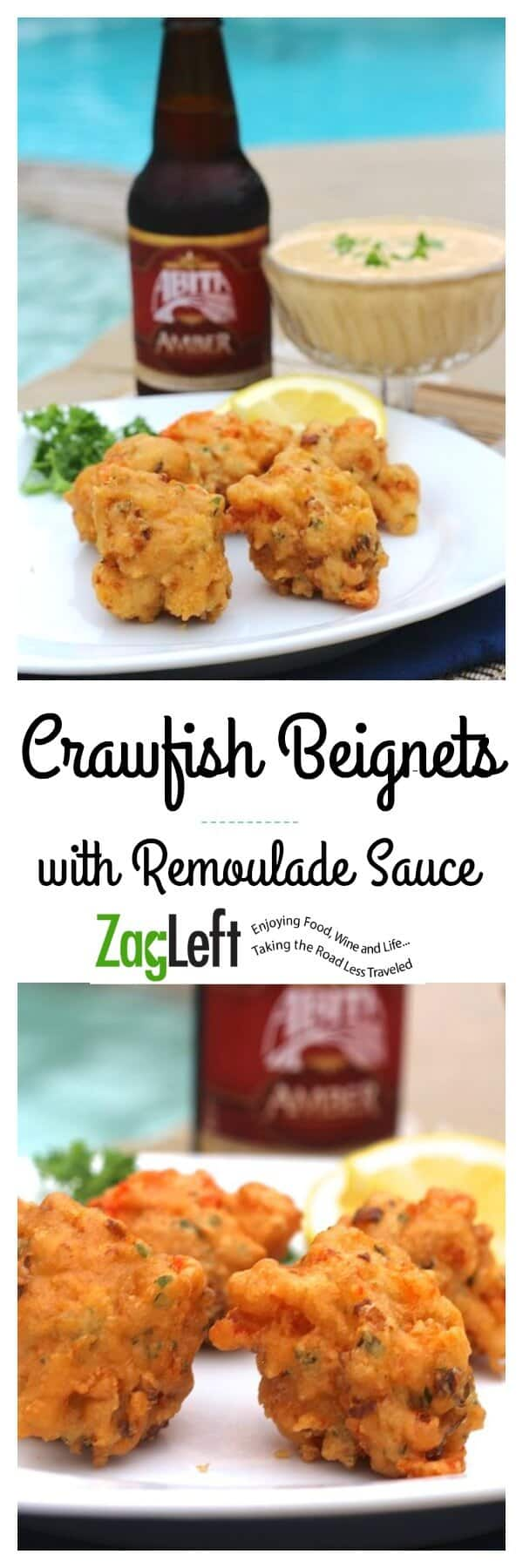 Crispy southern fried Crawfish Beignets with spicy Remoulade Sauce, a savory version of a Louisiana classic...