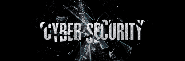 cyber security words with broken glass