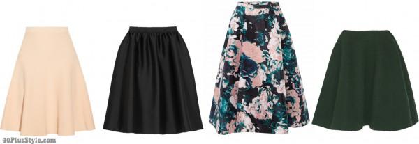 A-line skirts spring looks pear shape | 40plusstyle.com