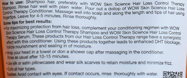 WOW skin science hair loss control therapy conditioner usage instructions